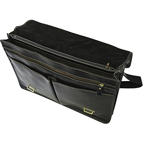 Single Piece Black Leather Professor Briefcase, Business Type, Softsided Briefcase With Zippered Pockets, Adjustable Leather And Cotton Straps For Comfort