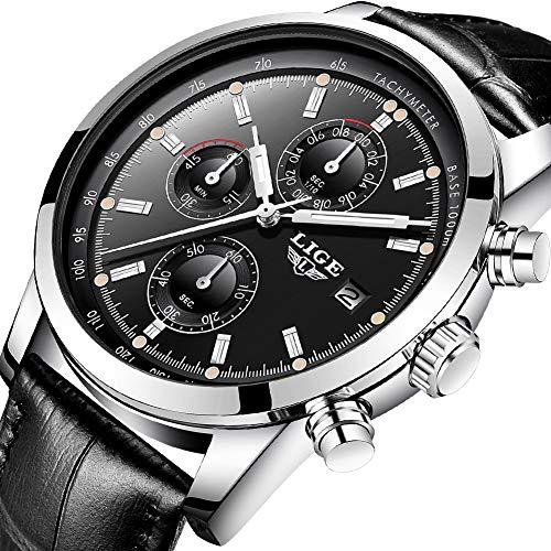 Fashion Black Watch Leather - Watches Fashion Waterproof Analog Quartz Watch Top Brand LIGE Wristwatch Casual Sport Black Leather Chronograph Watch Business Dress Date Clock …