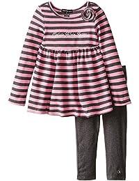 Calvin Klein Little Girls' Pink Gray Stripes Tunic with Leggings