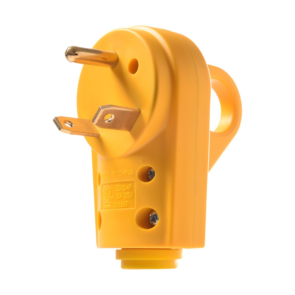 MICTUNING 125V/30Amp Heavy Duty RV Replacement Male Plug with Ergonomic Grip Handle, Yellow