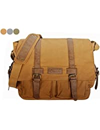 "Observ Classic Laptop Messenger Bag, Light Brown - Large Canvas Pack Designed to Fit Laptops 13"", 14"" and up to..."
