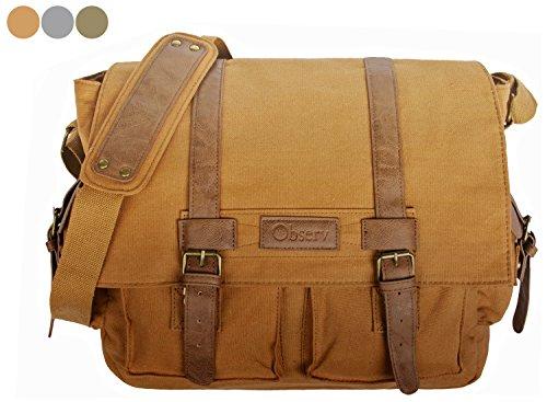 Observ Classic Laptop Messenger Bag, Light Brown - Large Canvas (Retro 14 Light)