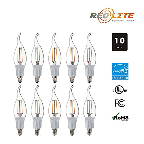 Reo-Lite 2W LED Candelabra Bulb E12, Dimmable Clear Chandelier Bulb UL Listed, 25W Equivalent Soft White 2700K, Home Decorative Candle Lights, LED Filament Light Bulbs CA10, 10 Pack