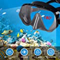 Amzdeal Snorkel Mask, Snorkeling Diving Mask Set with 180° Clear Vision and Free Breathing Tempered Glass Anti-Leak Guard with Adjustable Straps Professional Snorkeling Set