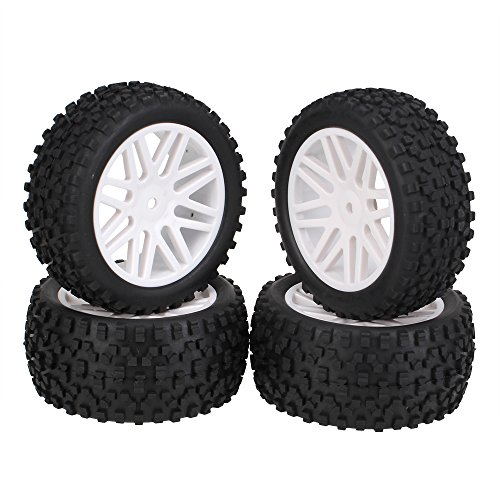 Rubber Rear Wheels (BQLZR White Front Rear Buggy Wheel Rim & Black Rubber Tyre Tires for RC 1:10 Off-Road Pack Of 4)