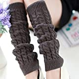 MFINHOME Women Gilrs Dark Gray Knee-high Twist Knitted Leg Warmer