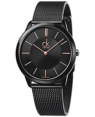 Calvin Klein K3M21421 Mens Minimal Black Steel Mesh Bracelet Watch