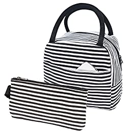 Lunch Bag Stripe Leakproof Canvas Lunch Tote Bag School Work Lunch Box Bag for Women, Men, Adults and Kids