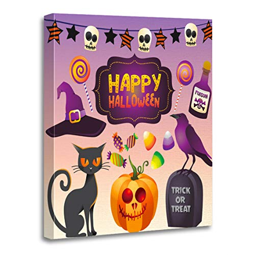 Emvency Canvas Wall Art Print Black Hallowen Halloween Cat Raven Pumpkin Candy Hat Characters Artwork for Home Decor 12 x 16 Inches -