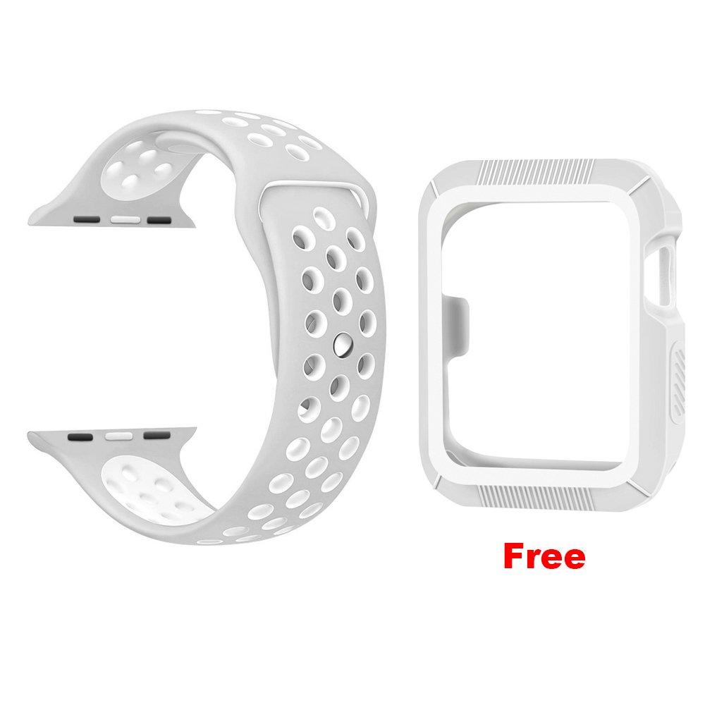 OULUOQI Watch banda 38 mm, Silicona Suave correa para mu�eca con orificios de ventilaci�n para iWatch Nike +, Series 1/2, tama�o S/M