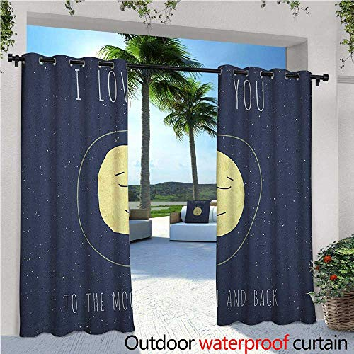 """I Love You Outdoor Privacy Curtain for Pergola Happy Faced Sleeping Moon Cozy Valentines Expression Peaceful Image Thermal Insulated Water Repellent Drape for Balcony W84"""" x L108"""" Cadet Blue Yellow"""