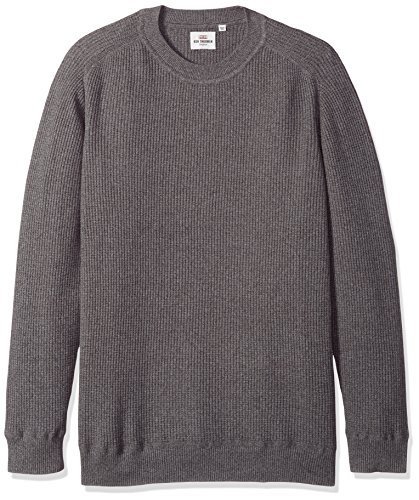 Ben Sherman Men's Mouline Rib Crew, Silver/Grey, (Ben Sherman Cotton Sweater)