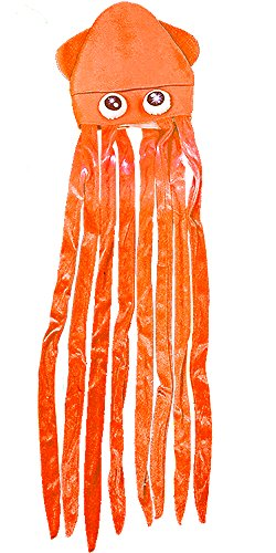 Squid Costume For Adults (RI Novelty Novelty Orange Lite Up Squid With Long Tentacles Party Hat Cap Costume Accessory)