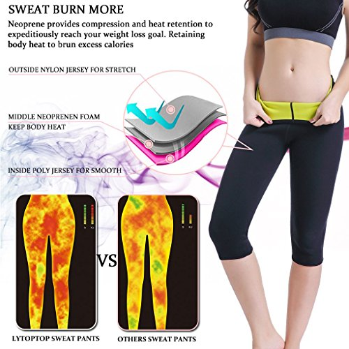 f9c12e26d2e8e LYTOPTOP Womens Hot Sweat Pants Neoprene Slimming Thermo Yoga Legging for Weight  Loss Fat Burner Capris