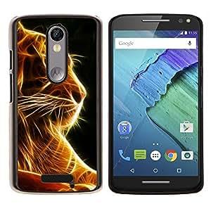 - ANIMAL FELINE TIGER FIRE ORANGE BLACK - Caja del tel¨¦fono delgado Guardia Armor- For Motorola Moto X 3rd / Moto X Style Devil Case