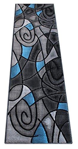 Area Contemporary Rug Runner - Masada Rugs, Modern Contemporary Runner Area Rug, Blue Grey Black (2 Feet X 7 Feet)