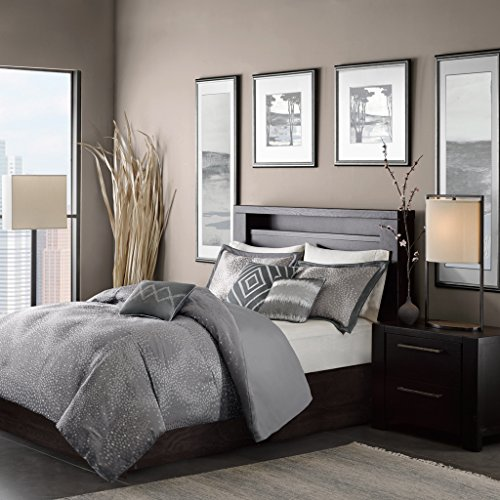Madison Park MP12-1772 Quinn 6 Piece Duvet Cover Set, King/California King, Grey