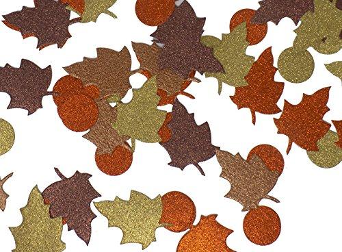 Large Autumn Fall Leaves Confetti Glitter Paper Die Cuts Orange, Brown, (Glitter Leaves)