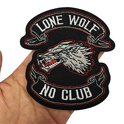 Lone Wolf Iron On Embroidered Patch,2 Pieces Applique Sewing Label Punk Biker Patches Clothes Stickers Apparel Accessories Badge