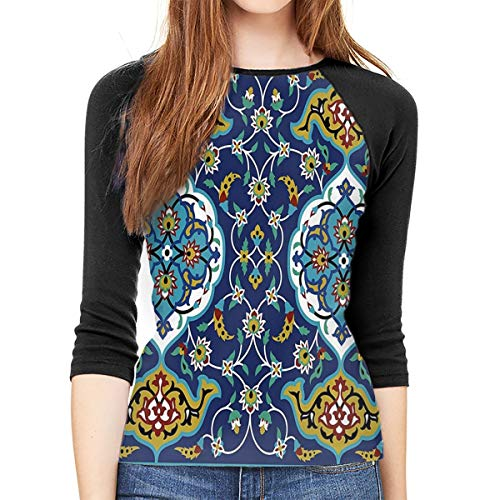 (JDSOD Authentic Oriental Motif Women's 3/4-Sleeve Raglan Tee Shirt)