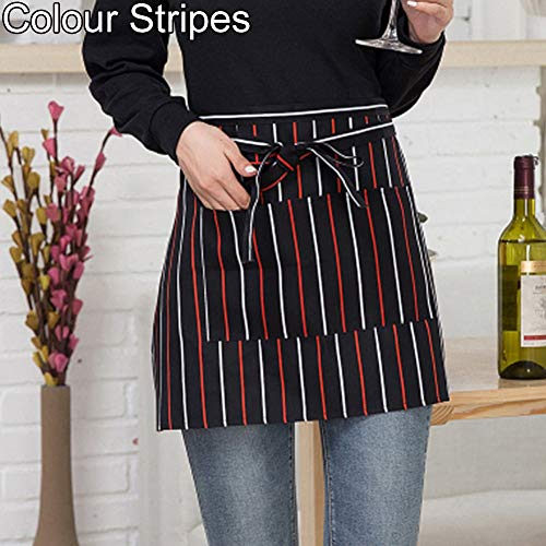 Plaid Half Apron - WillowswayW Catering Chef Waiter Striped Plaid Half-Length Short Waist Apron Pocket - Colour Stripes