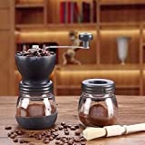 All Water Washable Manual Glass Coffee Grinder, Adjustable Hand Precision Brewing, Quiet And Portable Grinder (Black)