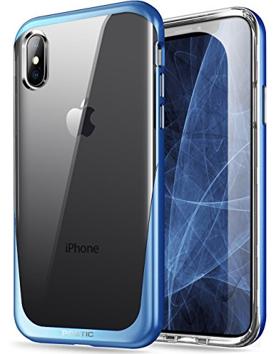 iPhone Xs Clear Case, iPhone X Clear Case, Poetic Lucent [Metallic Coating] [Scratch Resistant Back] Clear Hybrid Bumper Slim Case for Apple iPhone X (2017) / iPhone Xs (2018) 5.8inch - Blue