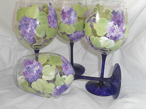 Hand painted lilac goblets. Great set. usa. Set of 4 goblets..12 ounces each. (Painted Stem)