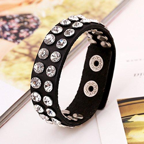 Best Quality Hah New Hot Fashion Jewelry Women Bracelets Leather Rhinestones Black Bracelet Man Vintage Creative Boutique Bracelet Femme