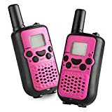 Kids Walkie Talkies, 22 Channel FRS/GMRS 2 Way Radio 2 Miles (up to 3.7 Miles) UHF Handheld Walkie Talkies for Kids Pink