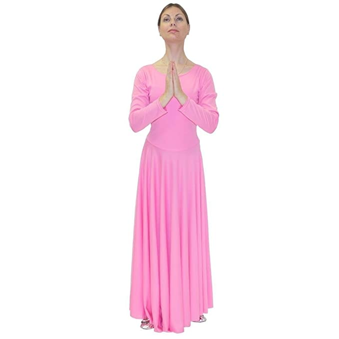 f591dc487 Danzcue Womens Praise Loose Fit Full Length Long Sleeve Dance Dress ...