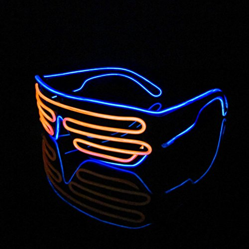 Lerway Black Frame Neon El Wire LED Light Up Shutter Glasses Two Colors+ Standard Controller (Orange + - Wire El Sunglasses