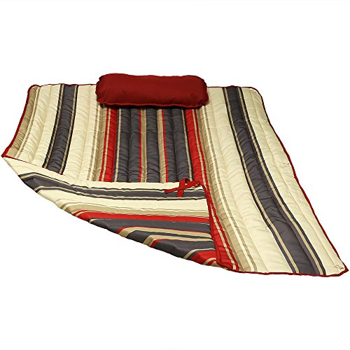 Sunnydaze Polyester Quilted Hammock Pad and Pillow Set Only, Outdoor Weather-Resistant, Modern Lines
