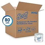 Scott 05102CT Standard Roll Bathroom Tissue, 1-Ply, 1210 Sheets per Roll (Case of 80 Rolls)