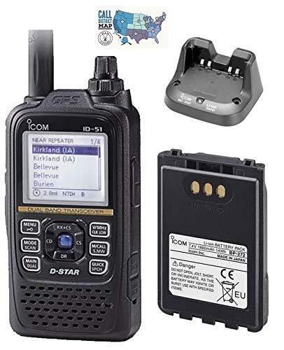 Bundle - 4 Items - Includes Icom ID-51A PLUS2 Dual Band D-Star HT Transceiver, Icom 1880mAh Hi-Cap Li-Ion Battery, Icom Rapid Desktop Charger and Ham Guides TM Quick Reference Card