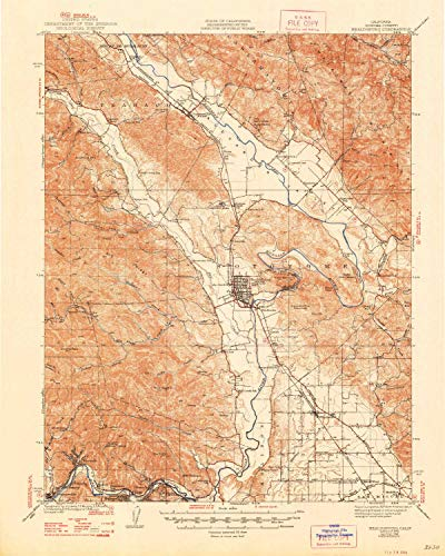 YellowMaps Healdsburg CA topo map, 1:62500 Scale, 15 X 15 Minute, Historical, 1940, Updated 1948, 20.8 x 16.6 in - Paper