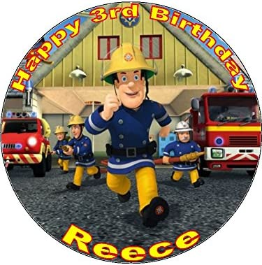 Surprising 7 5 Fireman Sam Edible Icing Birthday Cake Topper Amazon Co Uk Funny Birthday Cards Online Alyptdamsfinfo