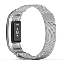 "Fitbit Charge 2 Band, MoKo Milanese Loop Stainless Steel Bracelet Smart Watch Strap + Connector for Fitbit Charge 2 Heart Rate + Fitness Wristband, Wrist Length 5.31""-8.66"" (135mm-220mm), Silver"