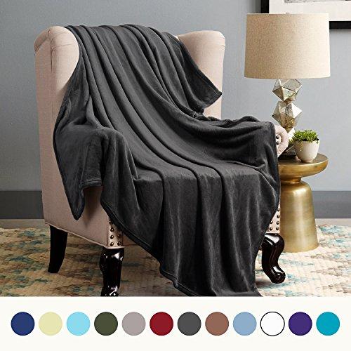 Flannel Fleece Luxury Blanket Ash Black Twin Size Lightweight