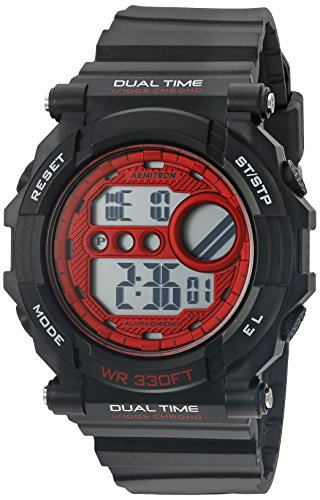 Armitron Sport Men's 40/8290BKRD Red Accented Digital Chronograph Matte Black Resin Strap Watch