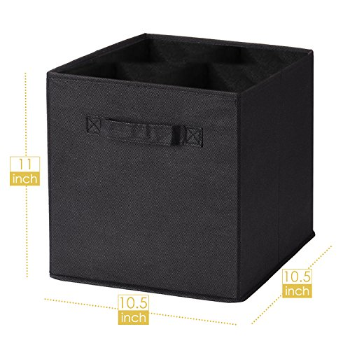 MaidMAX Cloth Storage Bin with Dual Handles for Home Closet Nursery Drawers Organizer, Foldable, Black, 10.5×10.5×11″, Set of 6