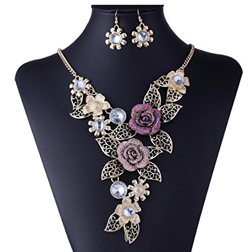 Owill Women Girls Elegant Vintage Flower Rose Gold Chain Necklace Diamond Earrings Set (A, - Clasp Pearl Diamond Necklace