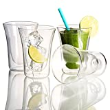 Double Wall Coffee Glass Set - Cocktail Beer Drinkware Set of 4, 10 - Ounces