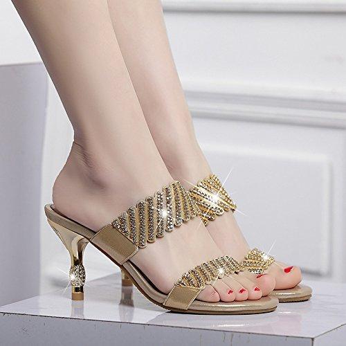 Zapatillas Diamantes Imitación de Señoras Las de Zapatillas Sandalias de Tacones Señoras Cuero Sandalias Sandalias y cm Las Sexy Gold de y de 7 Ta7UqxZ