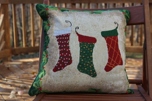 Tache Set of 2 Festive Tapestry Christmas Holiday Hang My Stockings By the Fireplace Cushion Cover (Fireplace Long Cushion compare prices)