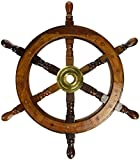 "18"" Ship Wheel Wooden: Pirate Boat Nautical Fishing"