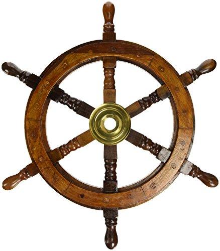 """18"""" Ship Wheel Wooden: Pirate Boat Nautical Fishing"""