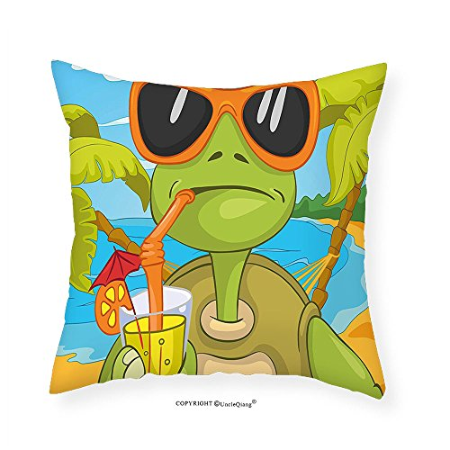VROSELV Custom Cotton Linen Pillowcase Turtle Cool Sea Turtle with Sunglasses Drinking Cocktail at the Beach Cartoon for Bedroom Living Room Dorm Green Orange Light Blue 12