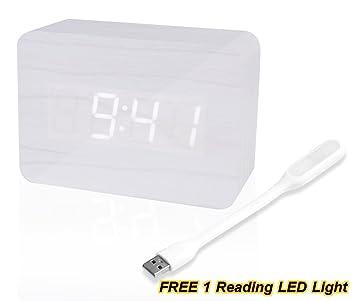 Reloj despertador digital de madera LED recargable snoozes temporizador con temperatura, Loud binario reloj de