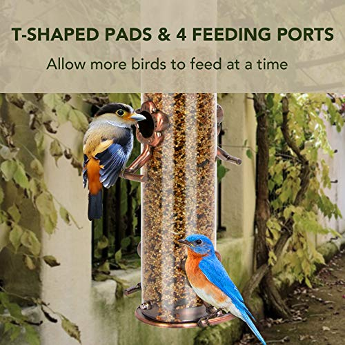 Wild Bird Feeder Hanging for Garden Yard, Tube Bird Seed Feeder with 4 Feeding Ports,Heavy Duty All Metal Finishing
